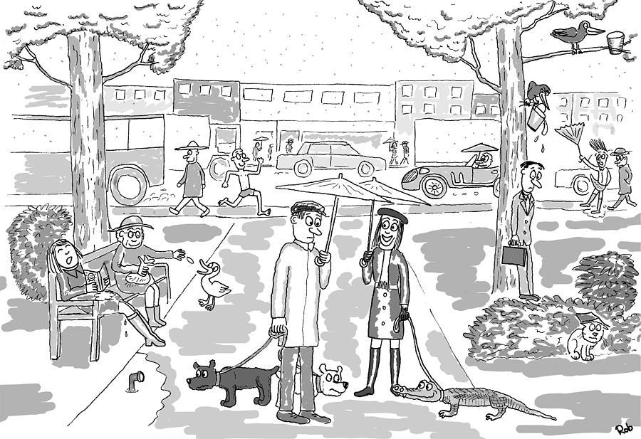 Rainy Day Cartoon Digital Art By Robert Middleton