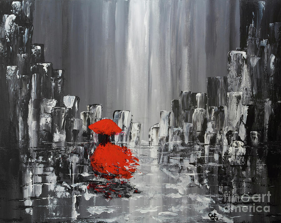 Rainy Day City Girl In Red by Catalina Walker