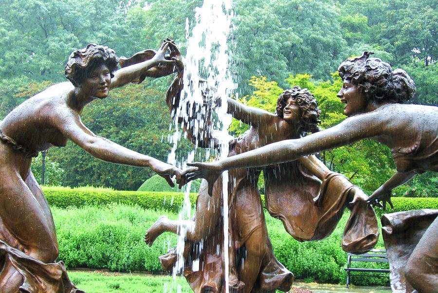 Fountain Photograph - Rainy Day Dance Central Park Nyc by Maria Scarfone