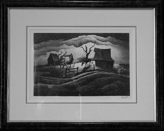 Thomas Hart Benton Drawing - Rainy Day F.23 by Thomas Hart Benton