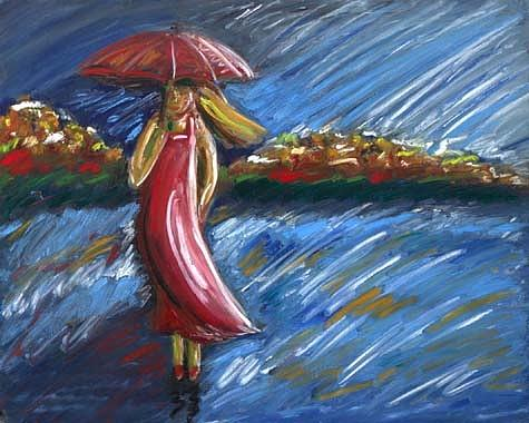 Girl In The Rain Painting - Rainy Day Girl by Linda Sholberg