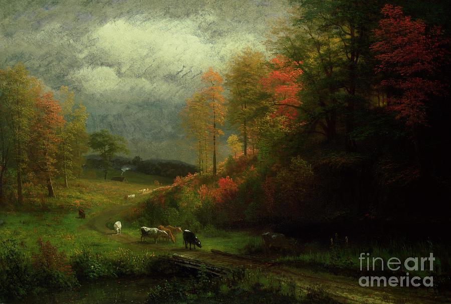 Massachusetts Painting - Rainy Day In Autumn by Albert Bierstadt