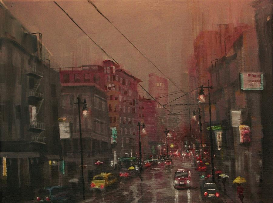 Rainy Day In The City Painting By Tom Shropshire