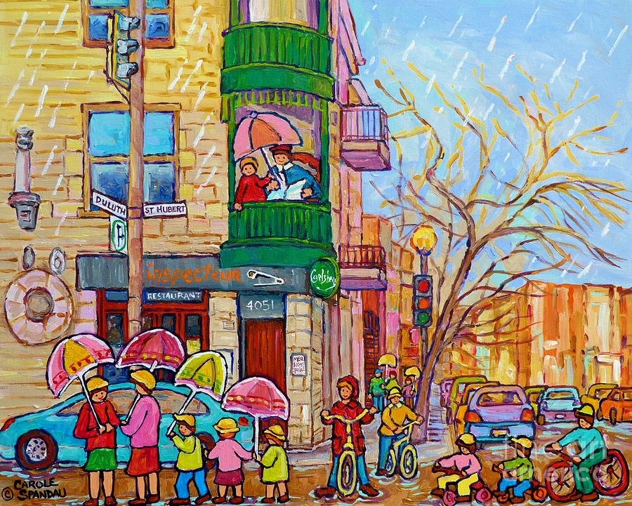 Rainy Day Painting Montreal City Scene Inspecteur Epingle Resto Bar ...