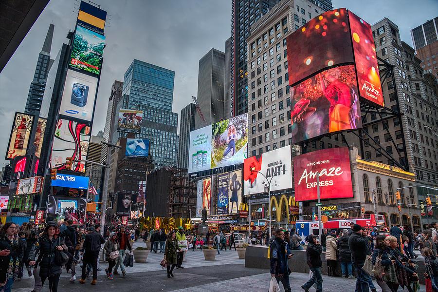 Times Square Photograph - Rainy Days by Michael Santos