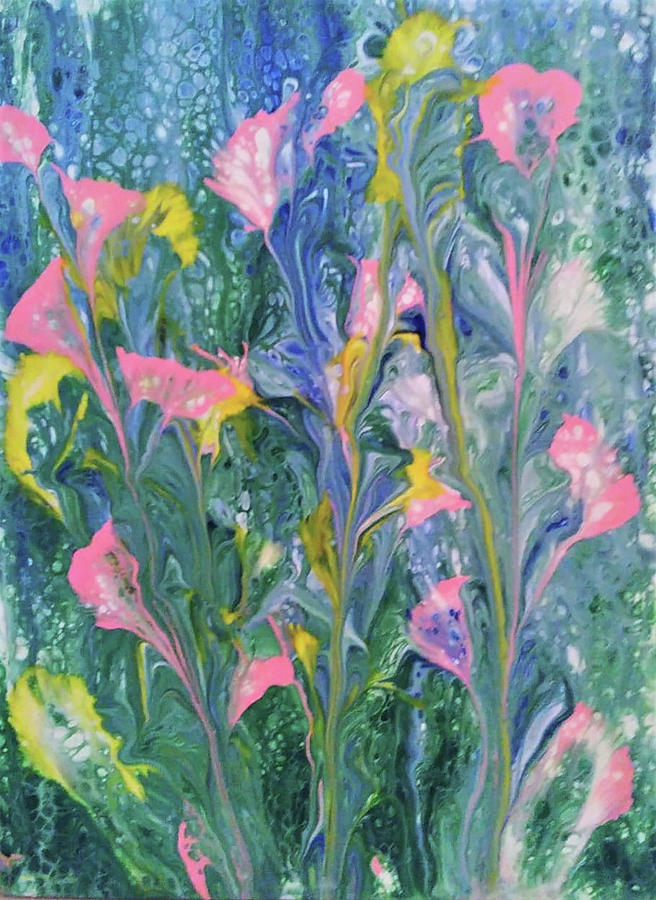 Abstract Painting - Rainy Garden by Diana Robbins
