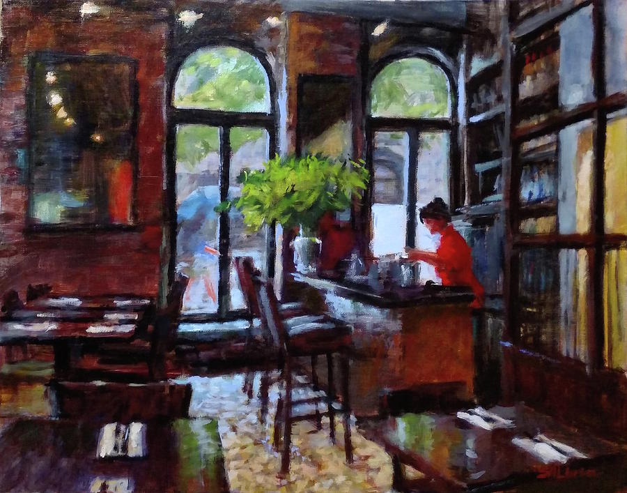 Rainy Day Painting - Rainy Morning In The Restaurant by Peter Salwen