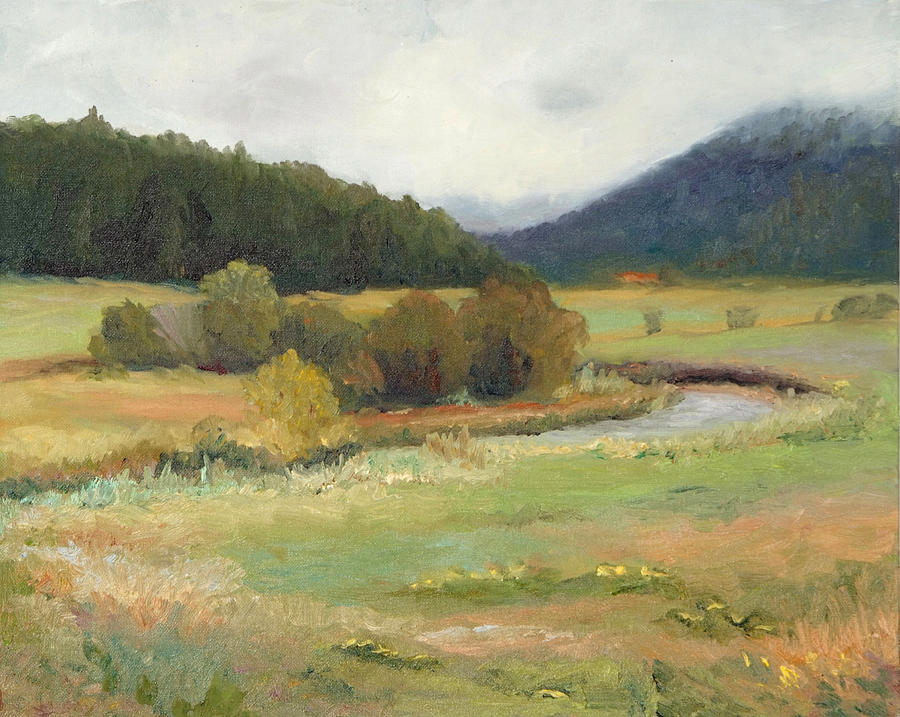 Rain Painting - Rainy Mountain Morning by Biki Chaplain