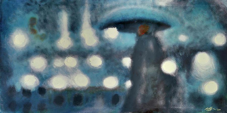 Paris Painting - Rainy Night In Paris by Steve Park