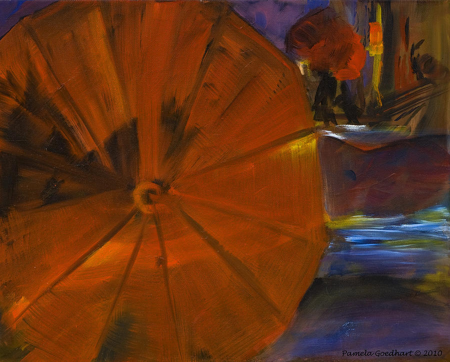 Umbrellas Painting - Rainy Night In The City by Pamela Goedhart