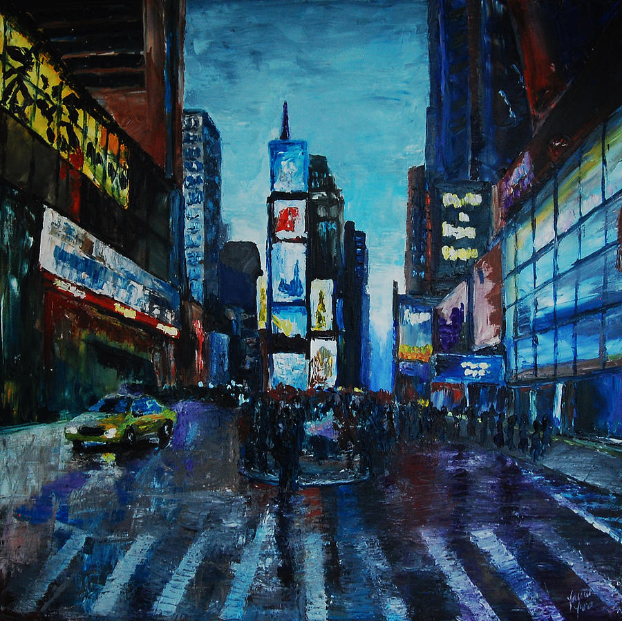 Times Square Painting - Rainy Times by Lauren Luna