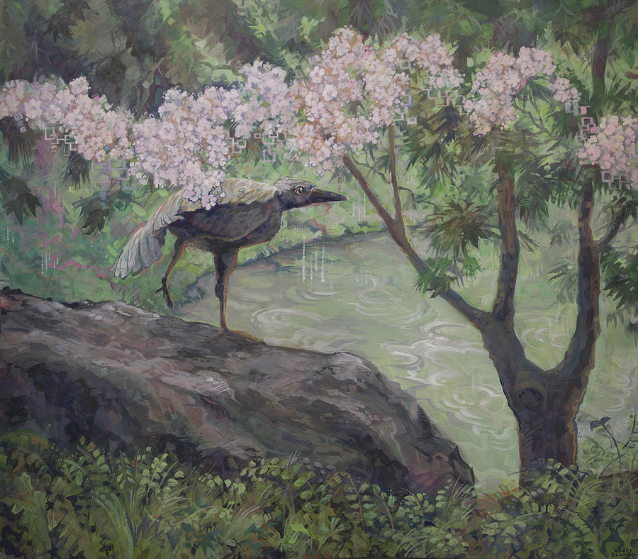 Rainy Zen Garden Painting By Roger Seward
