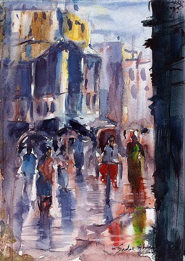 Landscape Painting - Rainyday by Sadek Ahmed