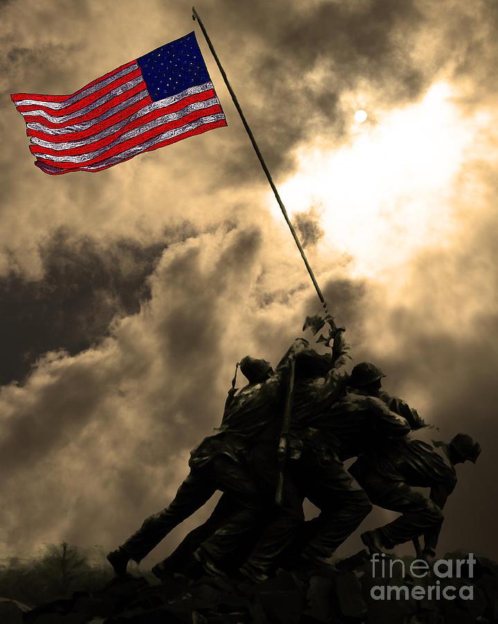 Iwo Jima Photograph - Raising The Flag At Iwo Jima 20130211 by Wingsdomain Art and Photography