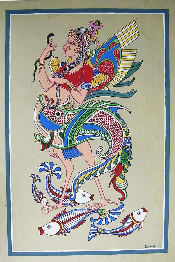Tall Painting - Raj Hanshi Fish by Rabindra Meher