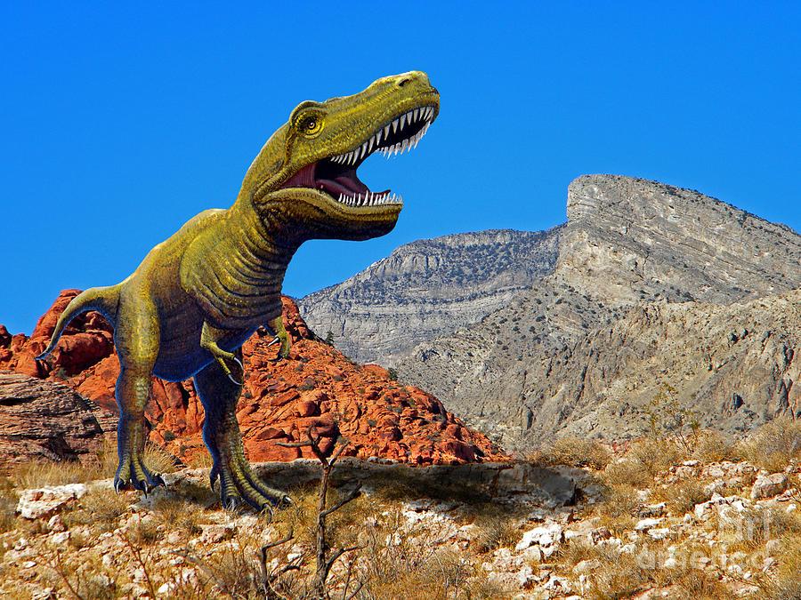 Rajasaurus Mixed Media - Rajasaurus In The Desert by Frank Wilson