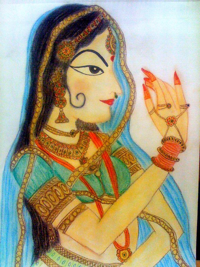 Pastels Drawing - Rajastani Lady by Smitha Kamath