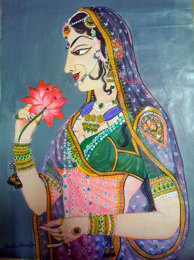 Queen Painting - Rajasthani Girl by Smitha Kamath