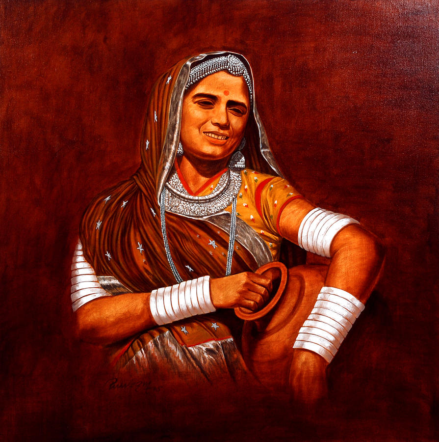 Figurative Painting - Rajasthani Lady by Pawan