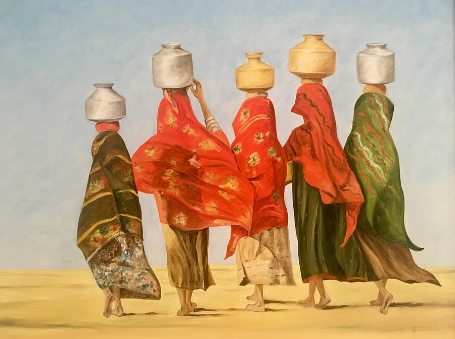 Rajasthani Village Girls Painting By Sukhpal Grewal