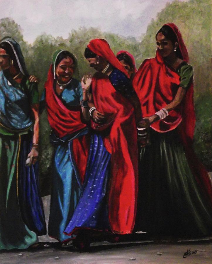 Rajasthani Village Women Painting By Kim Selig