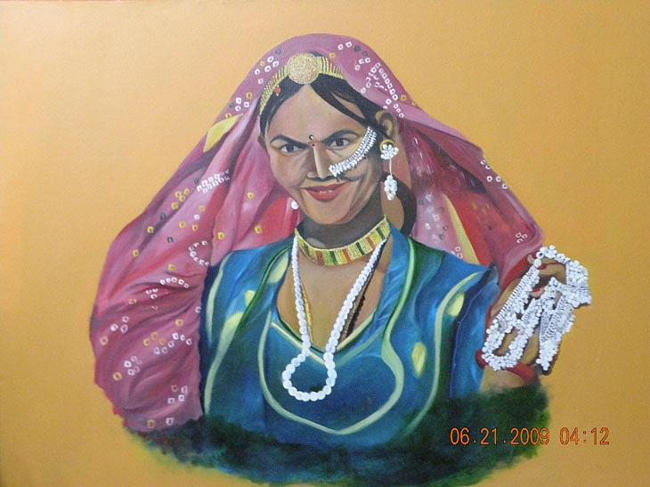Ornaments Painting - Rajasthani Woman by Latika Ratawal