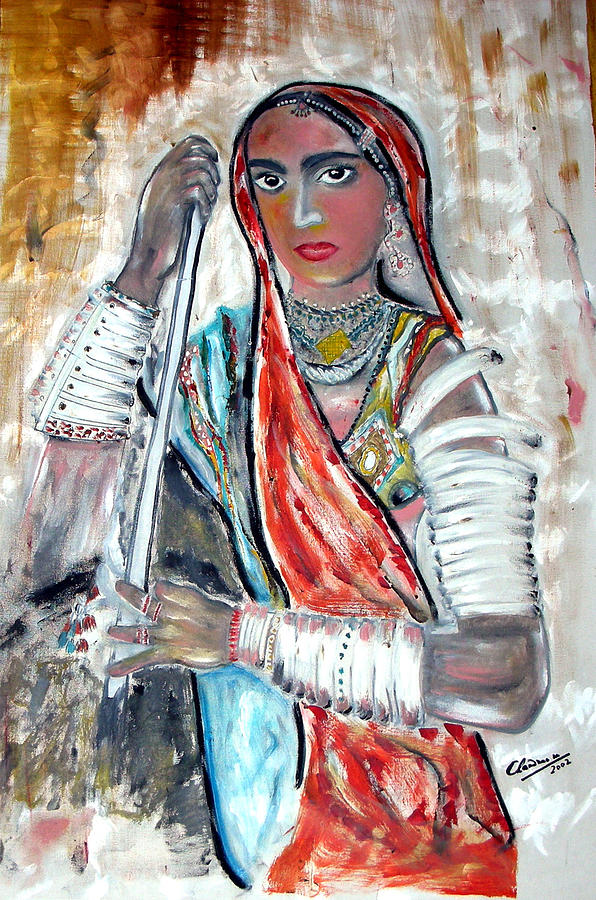 Woman Painting - Rajasthani Woman by Narayanan Ramachandran