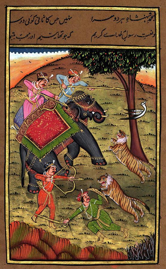 Rajput King Handmade Painting Drawing Hunting Tiger