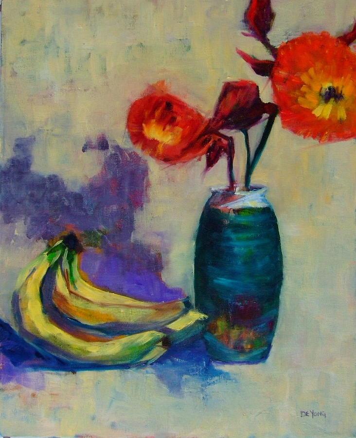 Raku And Bananas Painting by Glynis Berger