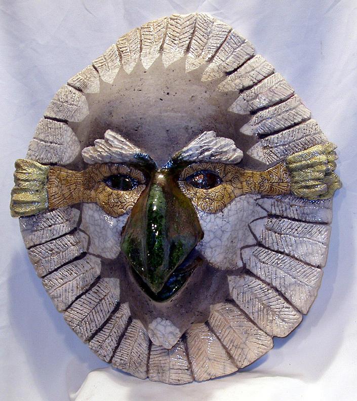 Raku Sculpture - Raku Hawk Mask by John Gruber