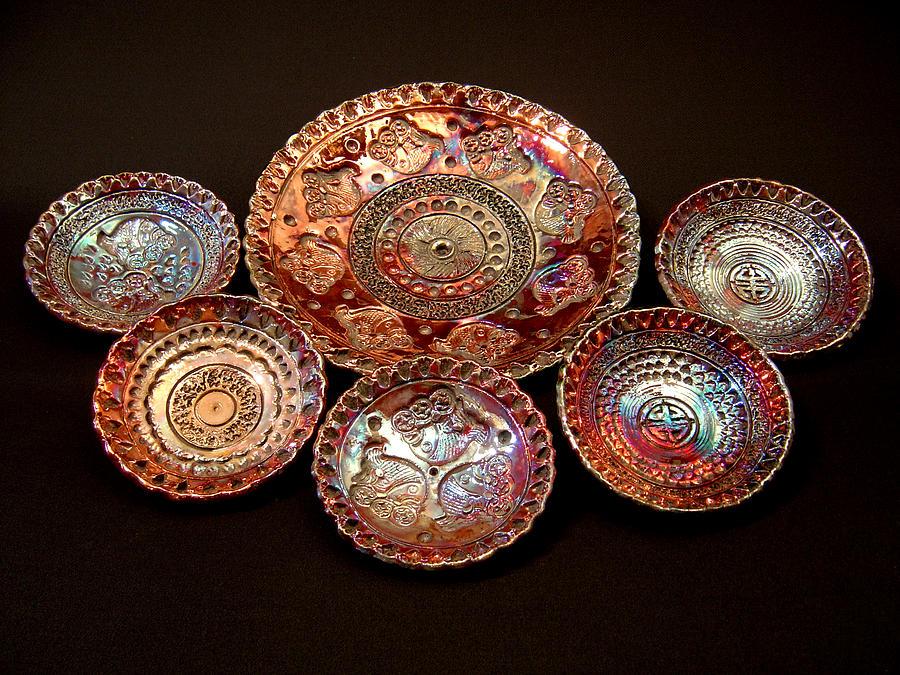 Jerry Ceramic Art - Raku Plates by Jerry Rhodes