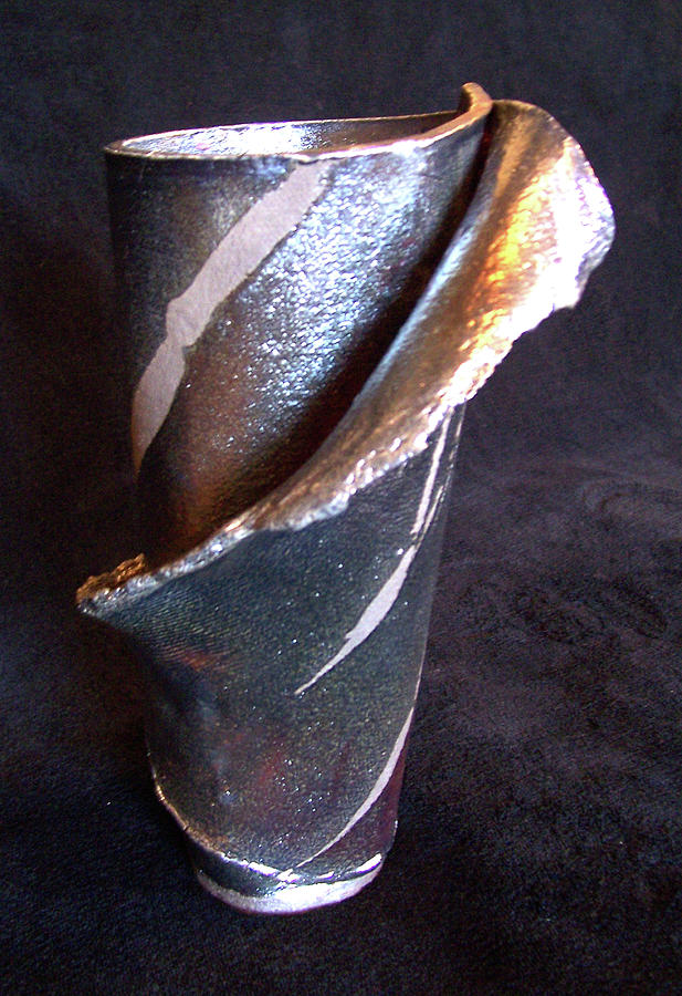 Raku Ceramic Art - Raku Slab Wrapped Vase by Carolyn Coffey Wallace