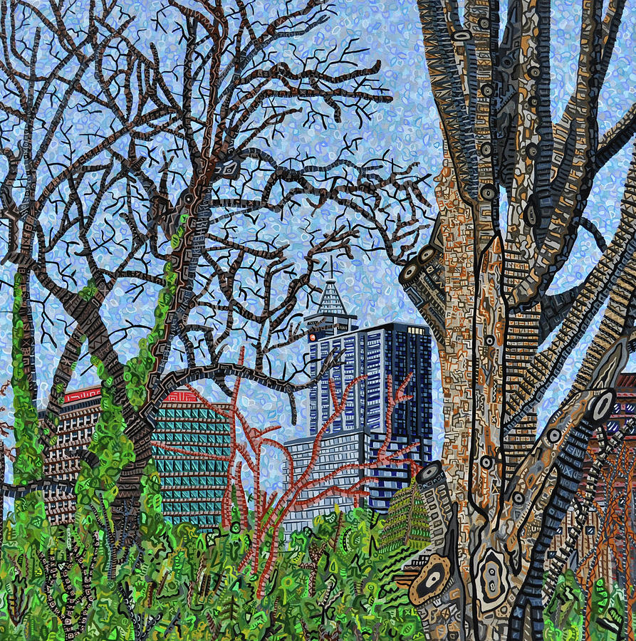 Raleigh Painting - Raleigh - View From Chavis Park by Micah Mullen