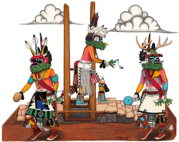 Antelope Mixed Media - Ram Antelope And Deer Kachina by Delwyn Takala