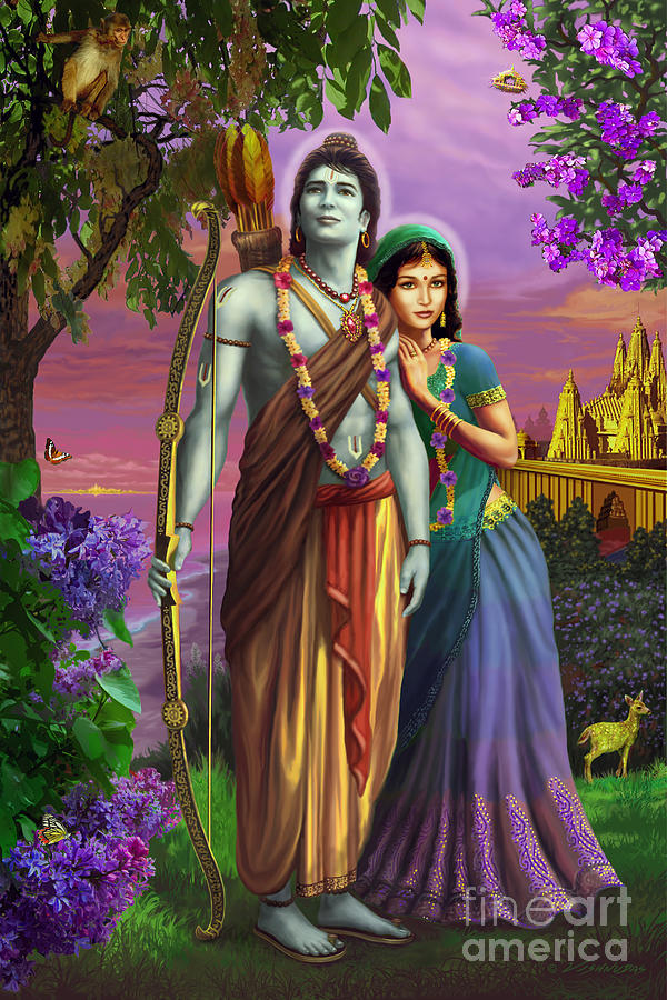 Rama and Sita  by Vishnudas Art