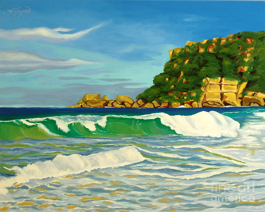 Ocean Painting - Ramy Base Beach by Milagros Palmieri