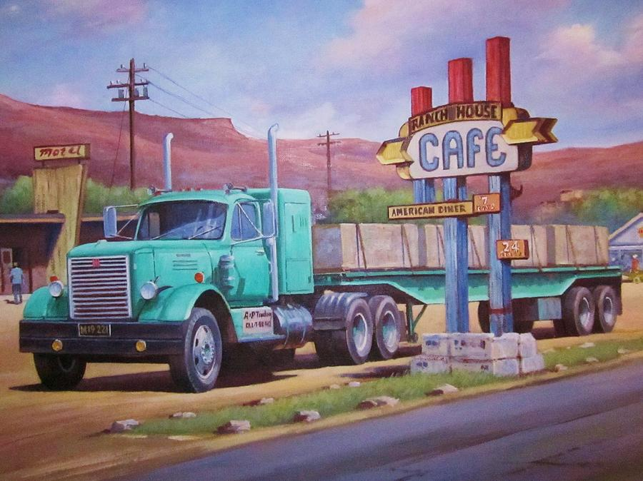 Truckstop Painting - Ranch House Truckstop. by Mike Jeffries