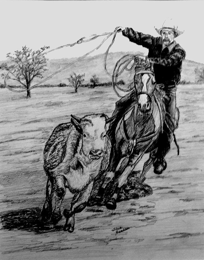Pencil Drawing - Ranch Work by Stan Hamilton