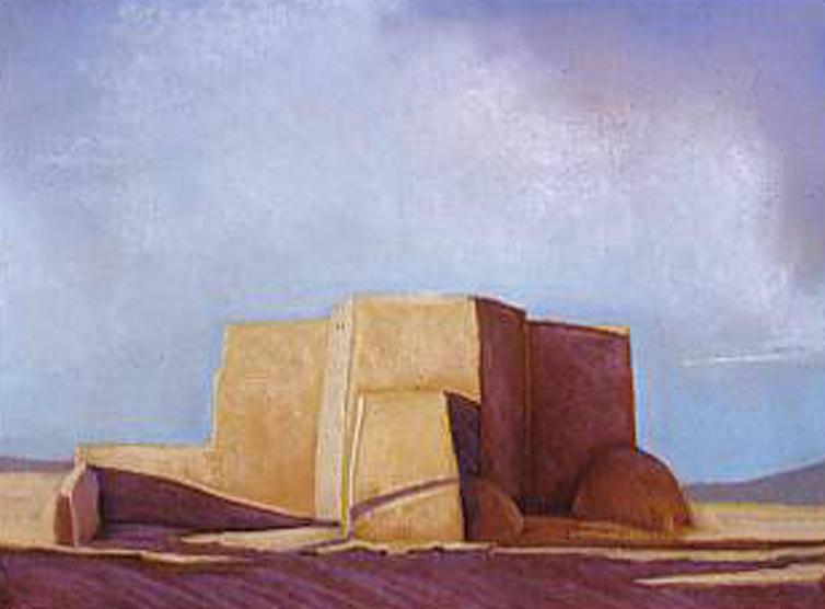 Blue Skies Pastel - Ranchos de Taos Church by Jo Thompson