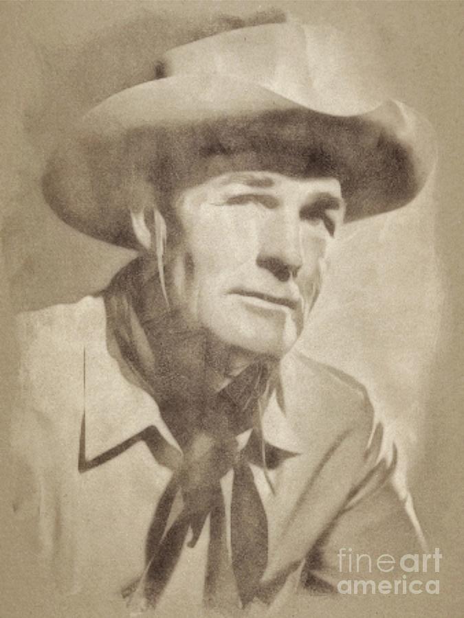Randolph Scott, Hollywood Legend By John Springfield Drawing