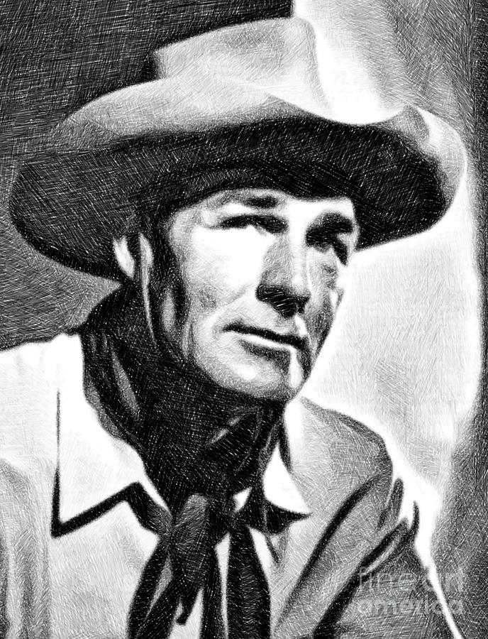 Randolph Scott, Vintage Actor By Js Drawing