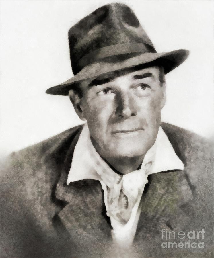 Randolph Scott, Vintage Actor Painting