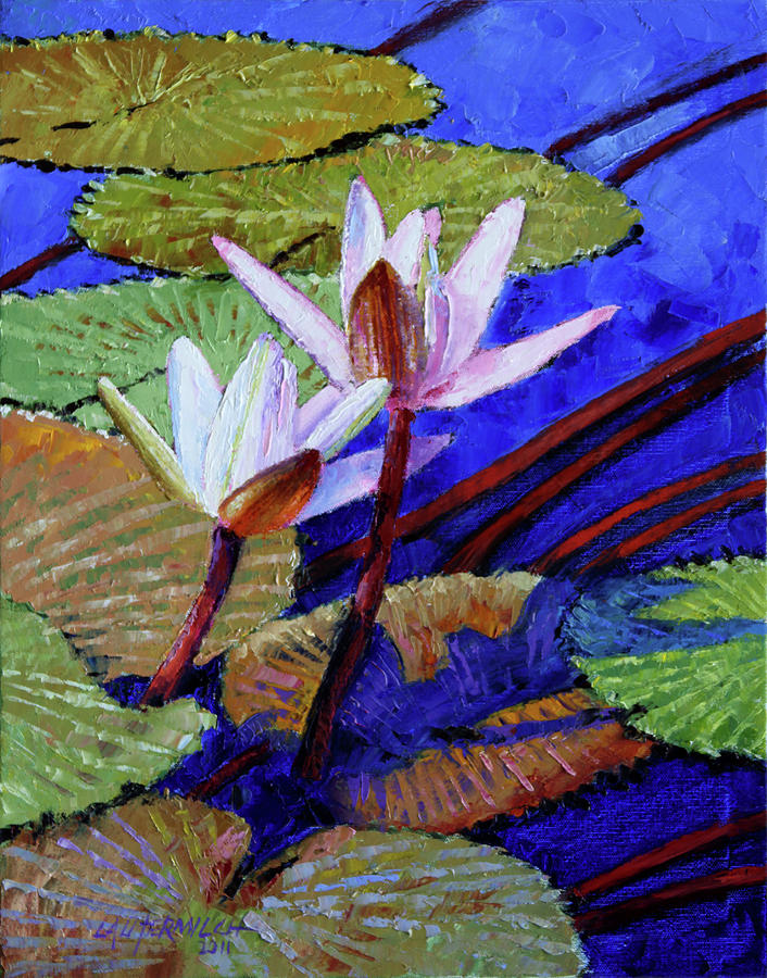 Water Lilies Painting - Random Beauty by John Lautermilch