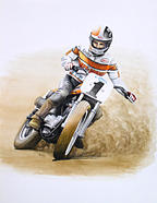 Flattrack Painting - Randy Goss by Harry Miller