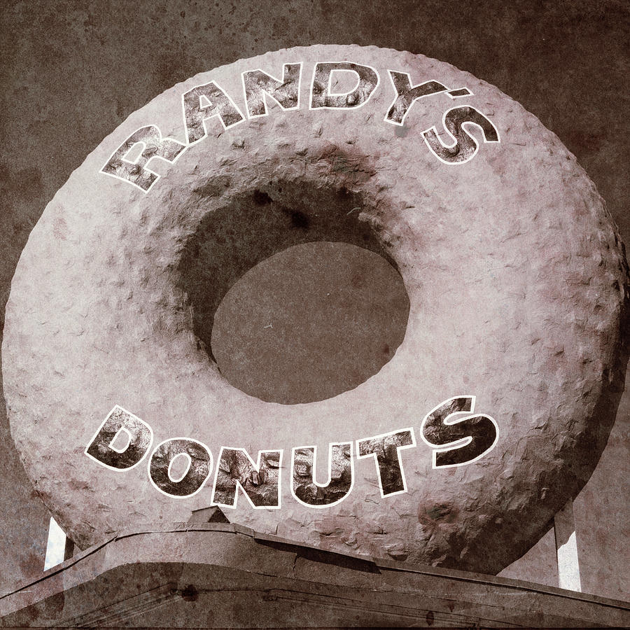 Randy's Donuts Photograph - Randys Donuts - Vintage by Stephen Stookey
