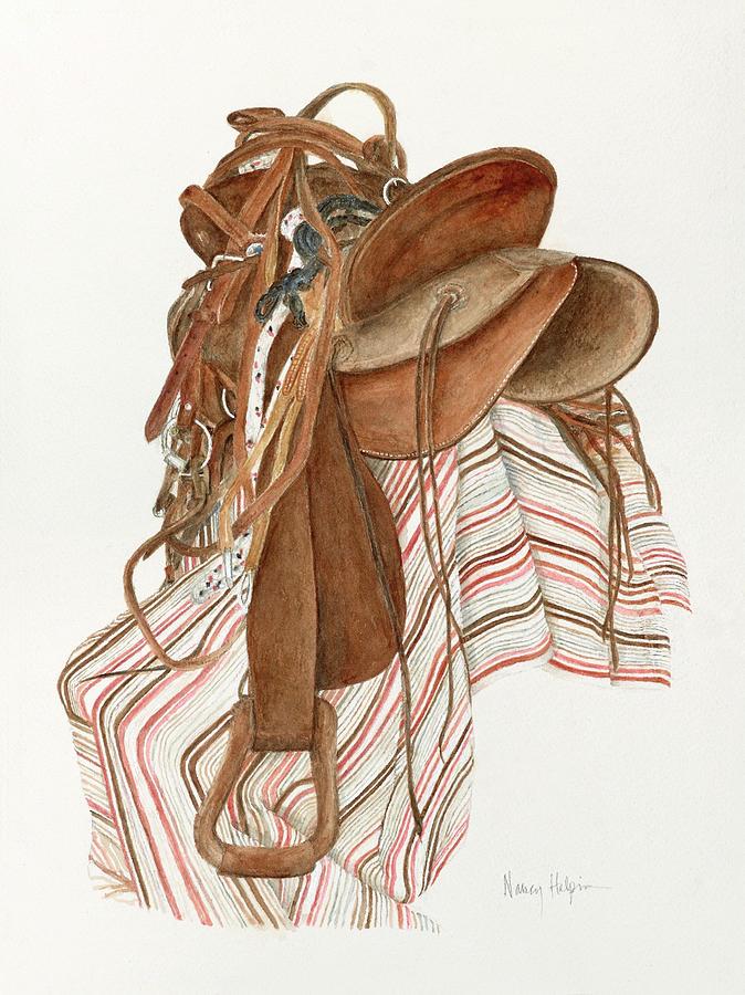 Saddle Painting - Randys Saddle by Nancy Halpin