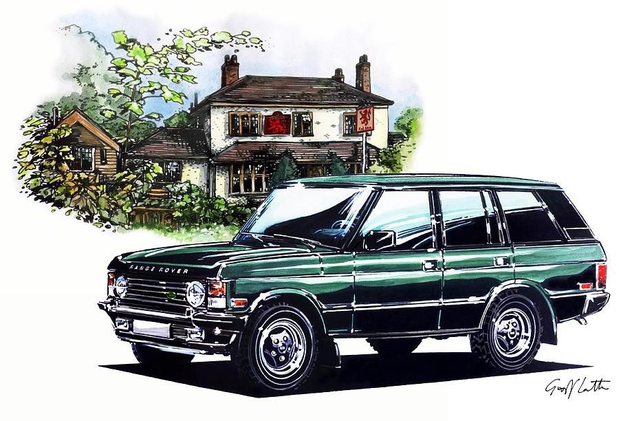 range rover at the red lion pub painting by geoff latter. Black Bedroom Furniture Sets. Home Design Ideas