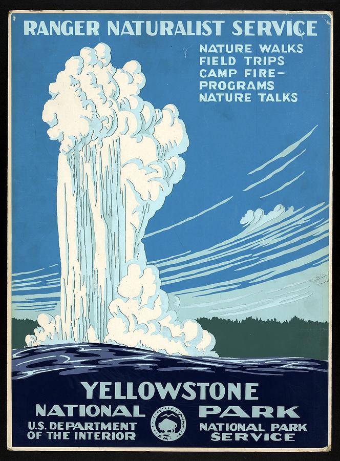 Ranger Naturalist Service - Yellowstone National Park - Retro Travel Poster - Vintage Poster Mixed Media