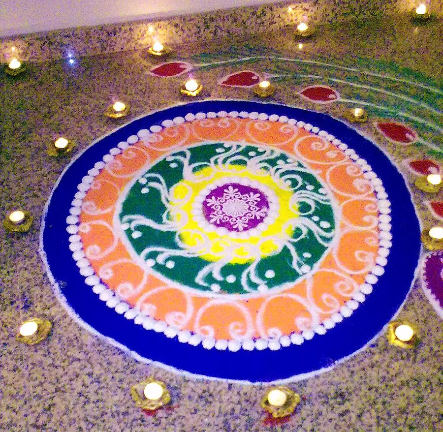 Colours Photograph - Rangoli- Festive Colours by Sunaina Serna Ahluwalia