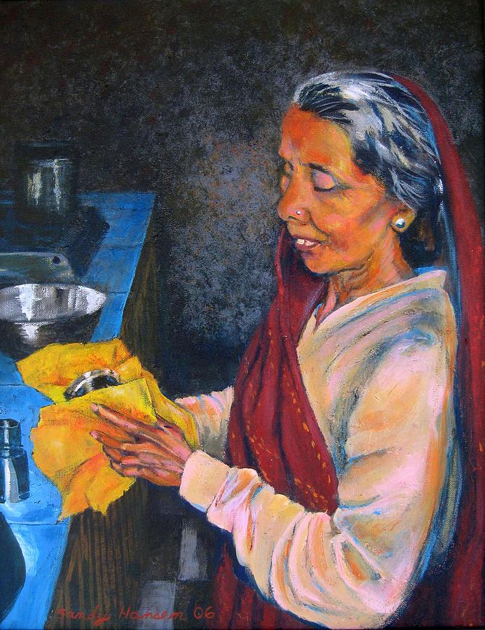 India Painting - Rani The Cook by Art Nomad Sandra  Hansen